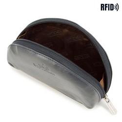 Minikosmetyczka skórzana półokrągła, ciemny granat, 26-2-441-N, Zdjęcie 1