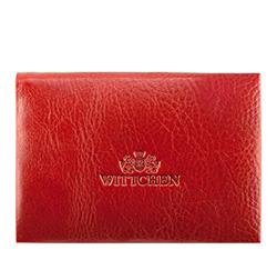 Etui na wizytówki skórzane z blaszką, czerwony, 21-2-133-3, Zdjęcie 1