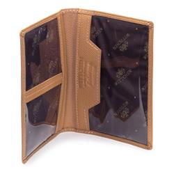 Damskie etui na dokumenty ze skóry kolorowe, camelowy, 13-2-163-RB, Zdjęcie 1