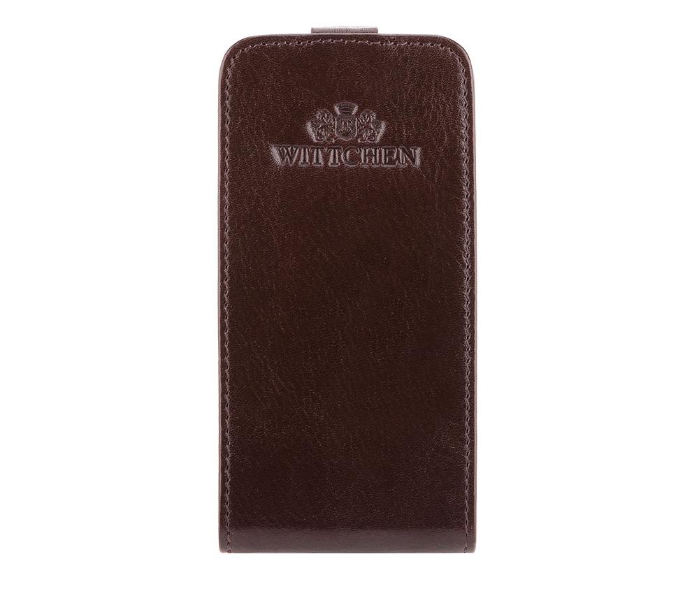 Чехол для телефонаЧехол для телефона из коллекции Italy, ручной работы  из натуральной телячьей кожи. Логотип – герб WITTCHEN тисненый на коже. Отделение на магнитной застежке. Конструкция чехла позволяет сохранить полную функциональность устройства, поместит телефон с максимальными размерами 1 см x 5,8 см x 11,4 см. Упакован в  эксклюзивную упаковку с фирменным логотипом WITTCHEN.<br><br>секс: унисекс<br>Цвет: коричневый<br>материал:: Натуральная кожа<br>высота (см):: 12,5<br>ширина (см):: 6,3<br>глубина (см):: 1,5