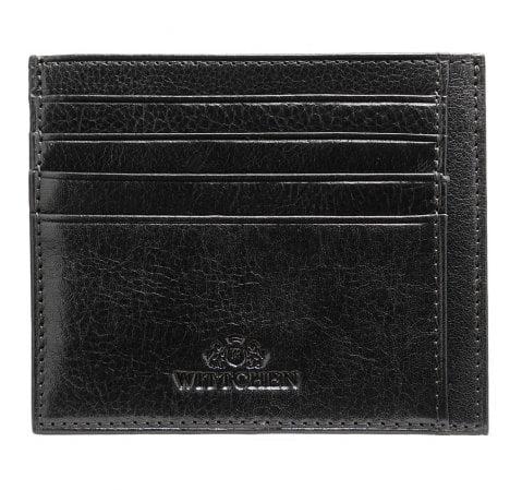 Etui na karty skórzane minimalistyczne, czarny, 21-2-030-1, Zdjęcie 1