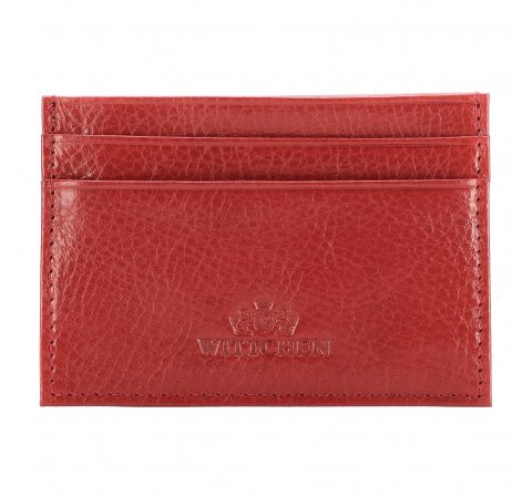 Etui na karty skórzane basic, czerwony, 21-2-038-3, Zdjęcie 1