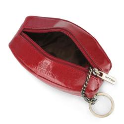 Etui na klucze skórzane z kółkiem, czerwony, 14-2-021-L91, Zdjęcie 1