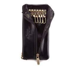 Etui na klucze skórzane z półotwartą kieszenią, czarny, 21-2-278-1, Zdjęcie 1