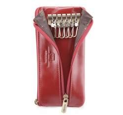 Etui na klucze skórzane z półotwartą kieszenią, czerwony, 21-2-278-3, Zdjęcie 1