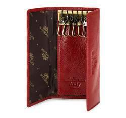 Etui na klucze skórzane z karabińczykami, czerwony, 21-2-013-3, Zdjęcie 1