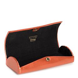 Etui na okulary ze skóry lakierowanej, pomarańczowy, 25-2-164-6, Zdjęcie 1
