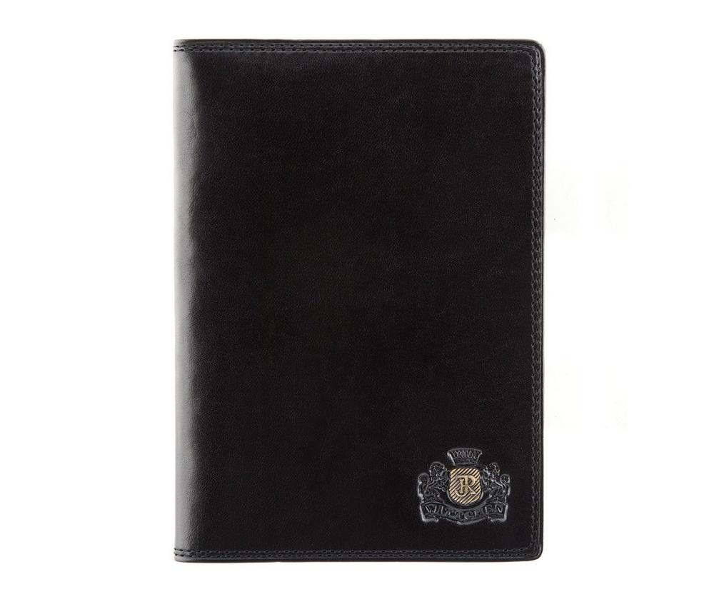 Обложка для паспорта Wittchen 39-5-128-1, черныйОбложка для паспорта из коллекции Da Vinci. Сделана из телячьей кожи. Логотип- металлический значок тисненый на гербе с монограммой цвета старого золота. Обложка имеет эксклюзивную упаковку с фирменным логотипом  WITTCHEN.    Внутри  2 отделения для паспорта;<br><br>секс: унисекс<br>Цвет: черный<br>материал:: натуральная кожа<br>высота (см):: 13.5<br>ширина (см):: 9.5
