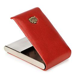 Etui na wizytówki skórzane z herbem, czerwony, 10-2-240-33, Zdjęcie 1
