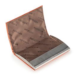 Etui na wizytówki ze skóry lakierowanej, pomarańczowy, 25-2-133-6, Zdjęcie 1