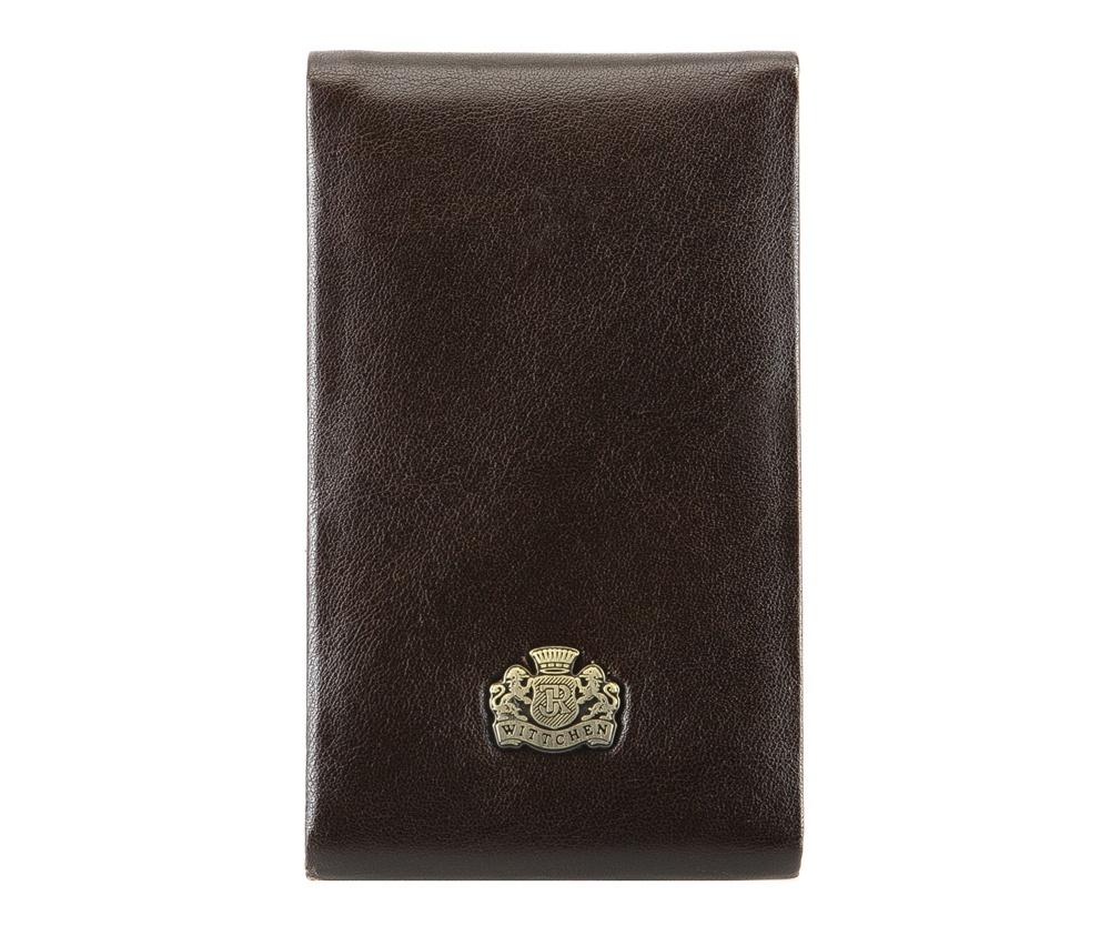 ВизитницаВизитница из коллекции Arizona. Сделана из телячьей кожи, логотип- металический значок с гербом WITTCHEN золотого цвета. Благодаря визитнице подчеркнешь свой статус и профессионализм, а визитки всегда будут в идеальном порядке. К визитнице прилагается подарочная упаковка с логотипом WITTCHEN.&#13;<br>Внутри:&#13;<br>&#13;<br>    отделение для визиток с металлическим механизмом на магните<br><br>секс: унисекс<br>Цвет: коричневый<br>высота (см):: 11<br>ширина (см):: 7