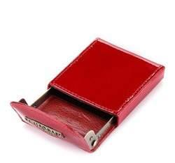 Etui na wizytówki ze skóry lakierowanej, czerwony, 25-2-151-3, Zdjęcie 1