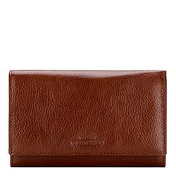 Damski portfel ze skóry z kieszenią na bigiel, jasny brąz, 21-1-081-5, Zdjęcie 1