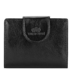 Damski portfel skórzany z elegancką napą, czarno - złoty, 21-1-362-10, Zdjęcie 1