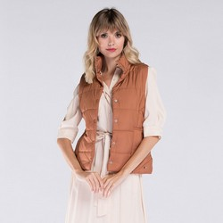 Women's gilet, light brown, 89-9N-406-5-S, Photo 1
