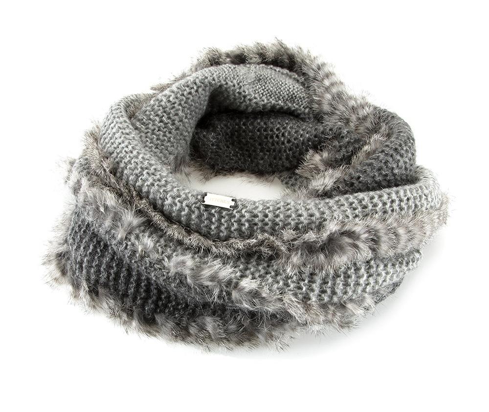 Шарф-снудШарф-снуд сделан из высококачественного материала с отделкой из натурального кроличьего меха. Шарф можно носить по -разному, в зависимости от погодных условий или индивидуального стиля.<br><br>секс: женщина<br>Цвет: серый<br>материал:: акрил<br>высота (см):: 30<br>обхват:: 170