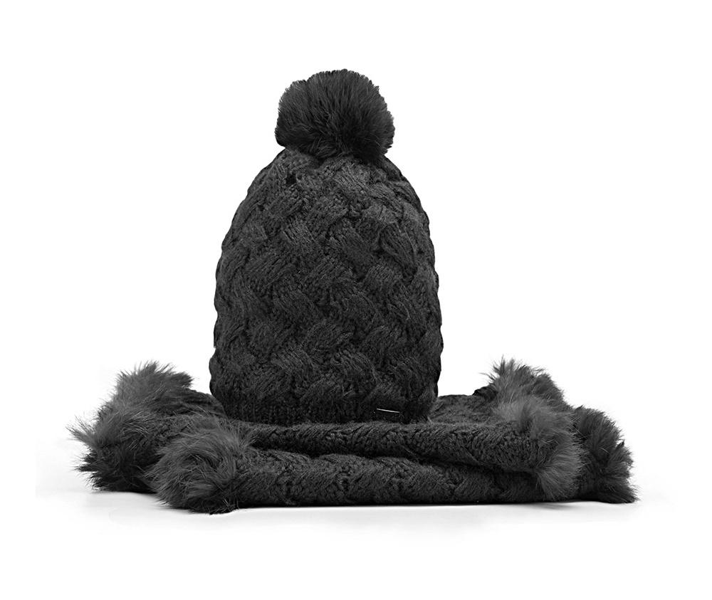 Комплект шапка + шарфКомплект шапка + шарф<br><br>секс: женщина<br>Цвет: черный<br>материал:: Акрил<br>ширина (см):: 35