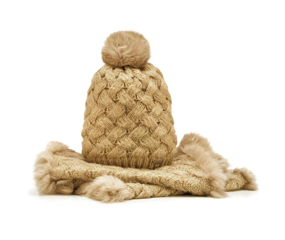 Комплект шапка + шарфКомплект шапка + шарф<br><br>секс: женщина<br>Цвет: коричневый<br>материал:: Акрил<br>ширина (см):: 35