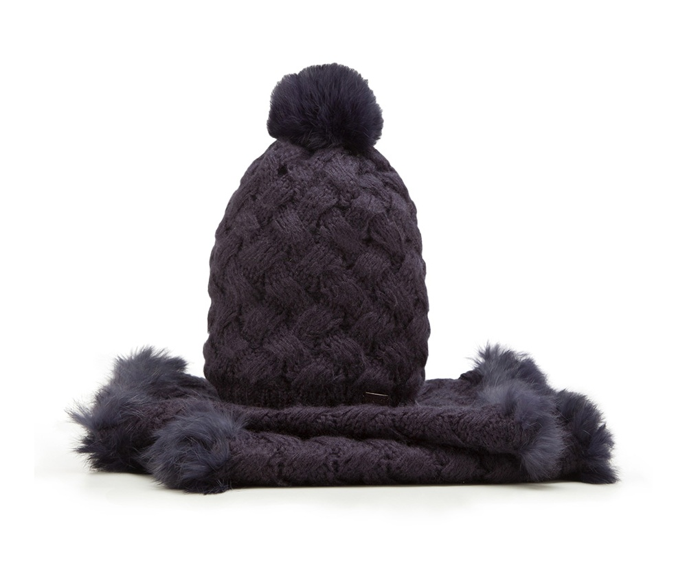 Комплект шапка + шарф Wittchen 85-SF-001-7, синийКомплект шапка + шарф<br><br>секс: женщина<br>Цвет: синий<br>материал:: Акрил<br>ширина (см):: 35