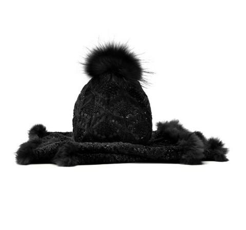 Komplet czapka + szalik, czarny, 85-SF-002-1, Zdjęcie 1