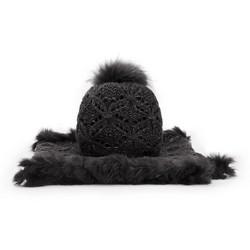 Komplet czapka + szalik, czarny, 89-SF-002-1, Zdjęcie 1