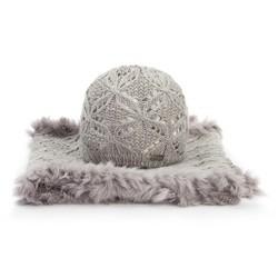 Komplet czapka + szalik, szary, 89-SF-005-8, Zdjęcie 1