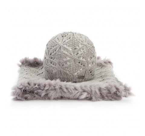 Komplet czapka + szalik, szary, 89-SF-005-2, Zdjęcie 1