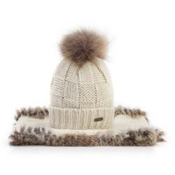 Komplet czapka + szalik, biało - brązowy, 89-SF-006-0, Zdjęcie 1