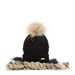 Komplet czapka + szalik, czarno - beżowy, 89-SF-006-1, Zdjęcie 1
