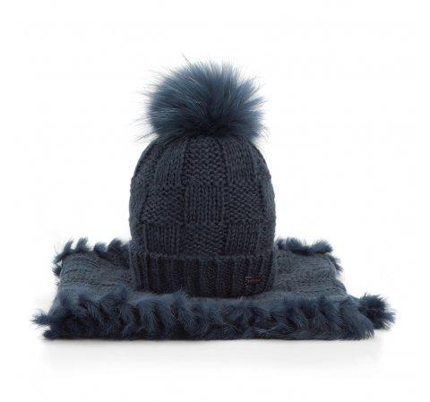 Komplet czapka + szalik, granatowy, 89-SF-006-7, Zdjęcie 1