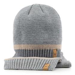Komplet czapka + szalik, szary, 89-SF-200-8, Zdjęcie 1