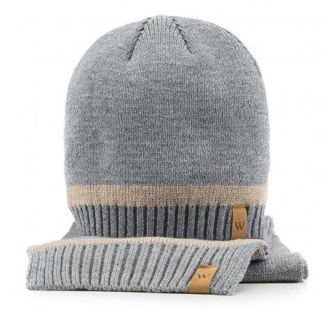 Komplet czapka + szalik, szary, 89-SF-200-4, Zdjęcie 1