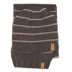 Men's hat + scarf, brown, 89-SF-200-4, Photo 1