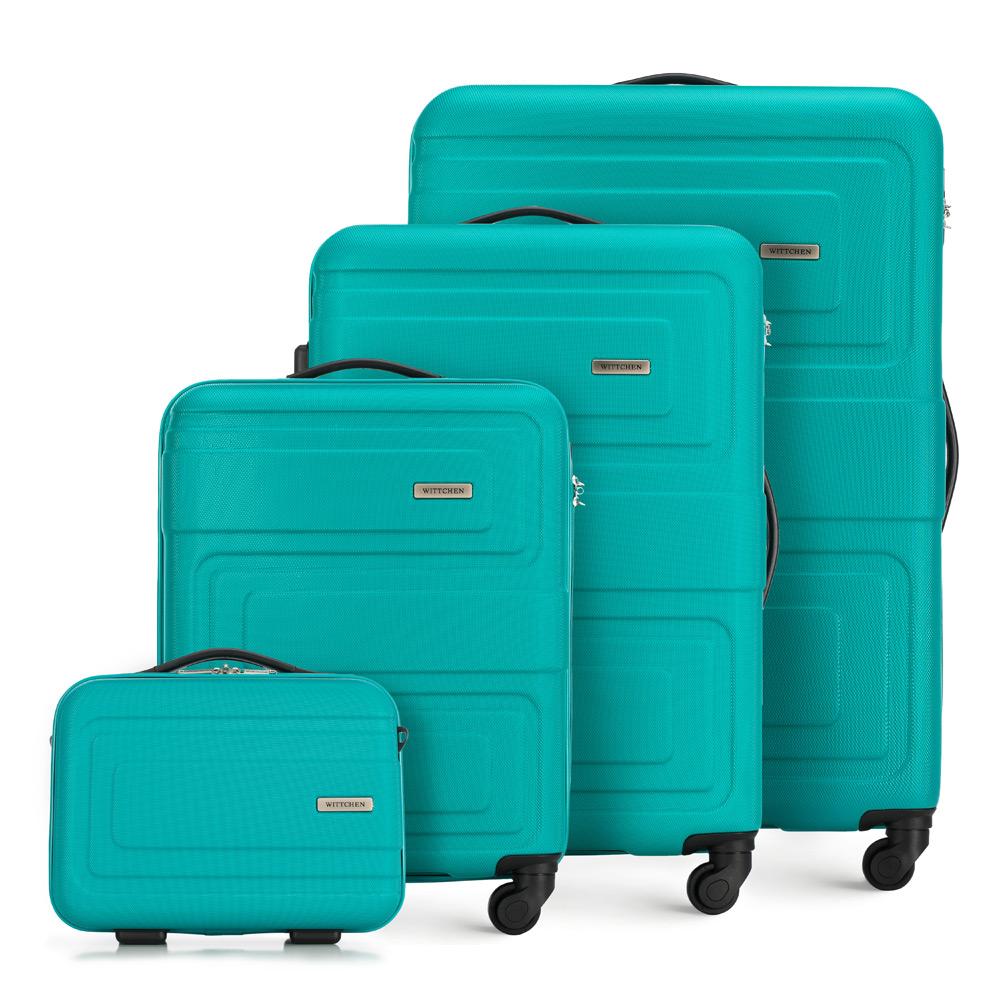 Sada tyrkysových cestovných kufrov z kolekcie Tour.