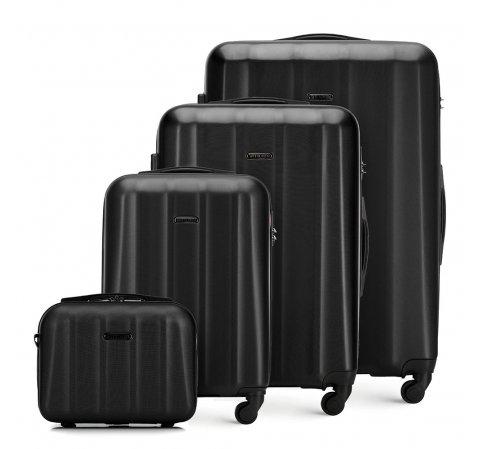 Komplet walizek z polikarbonu z teksturą, czarny, 56-3P-11K-95, Zdjęcie 1