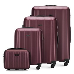 Textured polycarbonate luggage set, burgundy, 56-3P-11K-35, Photo 1
