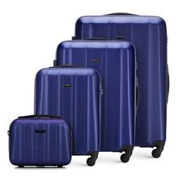 Textured polycarbonate luggage set, navy blue, 56-3P-11K-90, Photo 1