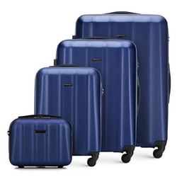 Komplet walizek z polikarbonu z teksturą, niebieski, 56-3P-11K-95, Zdjęcie 1