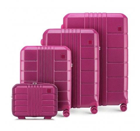 zestaw walizek z policarbonu, różowy, 56-3P-82K-60, Zdjęcie 1
