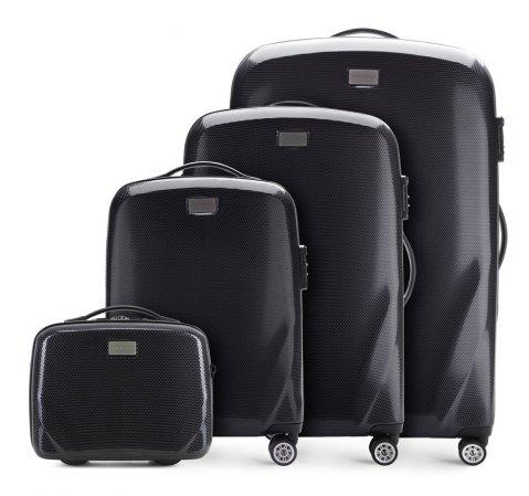 Zestaw walizek z polikarbonu jednokolorowych, czarny, 56-3P-57K-35, Zdjęcie 1