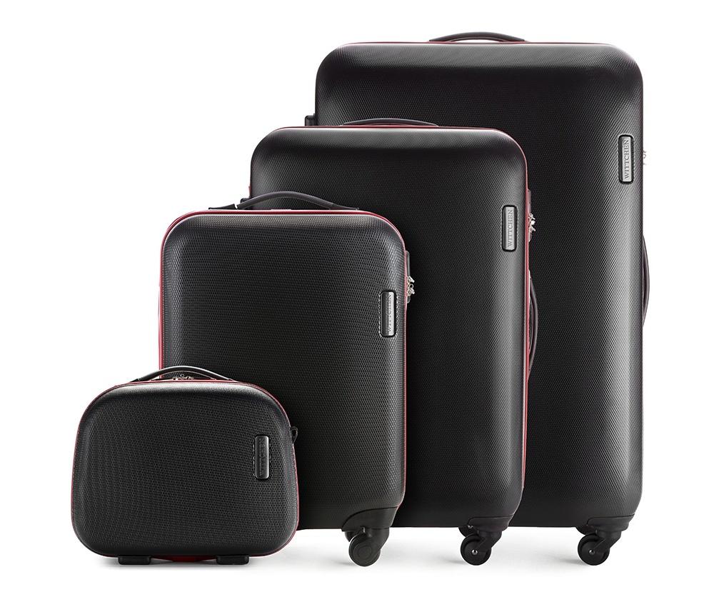 Комплект чемодановКомплект чемоданов из коллекции ABS S-Line, сделан из высокопрочного и устойчивого к царапинам пластика ABS. Чемоданы имеют четыре колесика, выдвижную ручку и резиновую ручку сбоку. Главное отделение на молнии, разделено на две части: одно отделение с фиксирующими ремнями для одежды, второе отделение закрывается на молнию, внутренний карман на молнии. Все модели с кодовым замком.<br><br>секс: унисекс<br>Цвет: черный<br>материал:: ABS пластик<br>подкладка:: полиэстер<br>высота (см):: 55 - 71 - 81 - 31<br>ширина (см):: 36 - 47.5 - 54 - 35<br>глубина (см):: 20 - 24 -28 - 15<br>размер:: комплект<br>объем (л):: 27 - 64 - 94 - 11<br>вес (кг):: 2.8 - 3.8 - 4.5 - 1.1<br>Комплекты: так