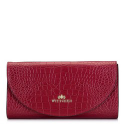 Leather clutch bag with animal print, red, 92-4E-659-3C, Photo 1