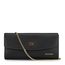 Leather clutch bag with chain shoulder strap, black-gold, 92-4E-661-1, Photo 1
