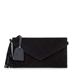 Suede tassel clutch bag, black, 92-4E-205-1, Photo 1