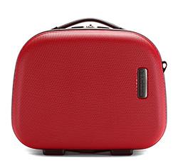 Kosmetyczka podróżna z ABS-u z kontrastowym suwakiem, czerwony, 56-3-615-30, Zdjęcie 1