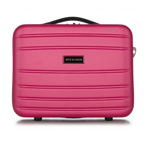 Kosmetyczka podróżna z ABS-u żłobiona, różowy, 56-3A-654-01, Zdjęcie 1