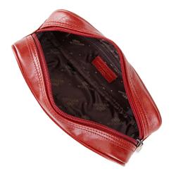 Kosmetyczka skórzana podłużna, czerwony, 21-3-002-3, Zdjęcie 1