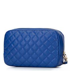 Damska kosmetyczka pikowana z uchwytem, niebieski, 92-3-101-N, Zdjęcie 1