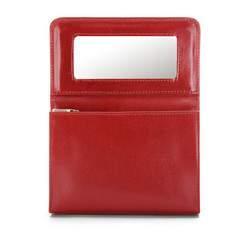 Kosmetyczka skórzana z lusterkiem, czerwony, 21-3-117-3, Zdjęcie 1