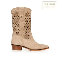 Tall suede western boots, beige, 92-D-154-9-36, Photo 1